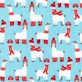 Bundled Buddies Llamas Aqua Flannel by Robert Kaufman Fabrics