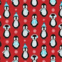 Bundled Buddies Penguins Red Flannel by Robert Kaufman Fabrics