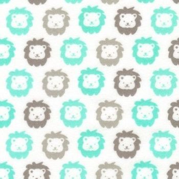 Cozy Cotton Flannel Mint Lions by Robert Kaufman Fabrics