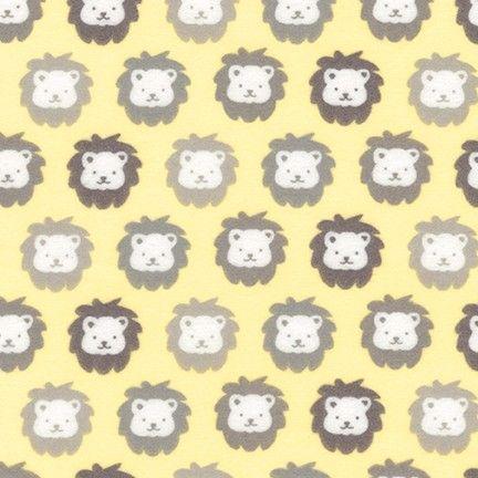 Cozy Cotton Flannel Yellow Lions by Robert Kaufman Fabrics