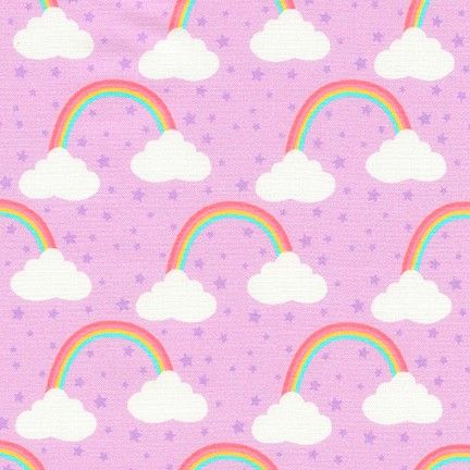 Chasing Rainbows Princess Purple Rainbow Clouds by Robert Kaufman Fabrics 1