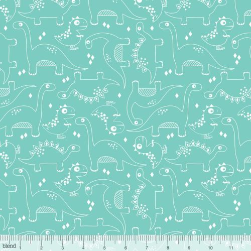 Dino-mite Fossils Turquoise by Blend Fabrics 100% Cotton