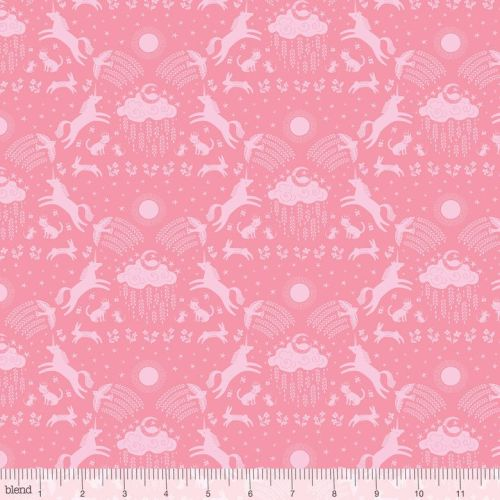 Happy Skies Unicorn Dreams Pink by Blend Fabrics 100% Cotton