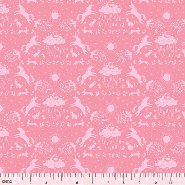 Happy Skies Unicorn Dreams Pink by Blend Fabrics 100% Cotton