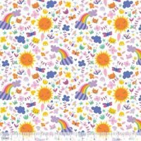 Happy Sunshine & Rainbows White by Blend Fabrics 100% Cotton