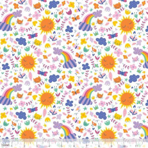 Happy Sunshine & Rainbows White by Blend Fabrics 100% Cotton