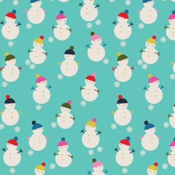 Merry & Bright Snowmen Blue by Dashwood Studio 100% Cotton