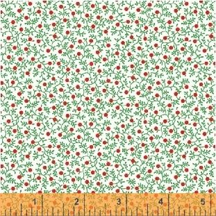 Candy Cane Lane Holly on White by Windham Fabrics 100% Cotton
