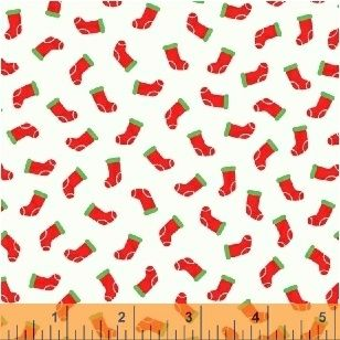Candy Cane Lane Stockings on White by Windham Fabrics 100% Cotton