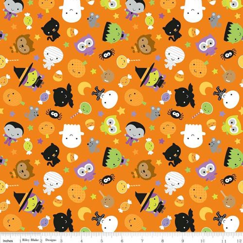 Ghouls and Goodies Main Orange by Riley Blake Designs 100% Cotton 52 x 53 c