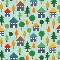 Let's Go Aqua Houses by Robert Kaufman Fabrics 100% Cotton