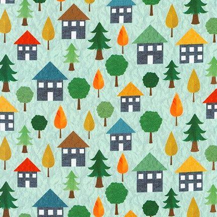 Let's Go Aqua Houses by Robert Kaufman Fabrics 100% Cotton