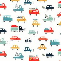 Let's Go White Cars by Robert Kaufman Fabrics 100% Cotton