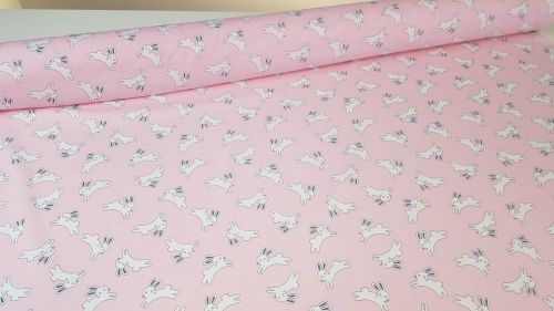 Bunny Jump Baby Pink by Rose & Hubble 100% Cotton