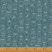 Whoos Hoo Owl Print Blue by Windham Fabrics 100% Cotton
