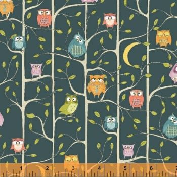 Whoos Hoo Owl Main Blue by Windham Fabrics 100% Cotton