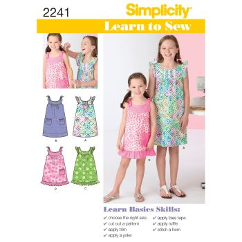 Simplicity Learn to Sew Childs & Girls Dress Pattern 2241 Size K5 (7,8,10,12,14)