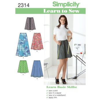 Simplicity Learn to Sew Ladies Misses Skirt Pattern 2314 Size A (6,8,10,12,14,16,18)