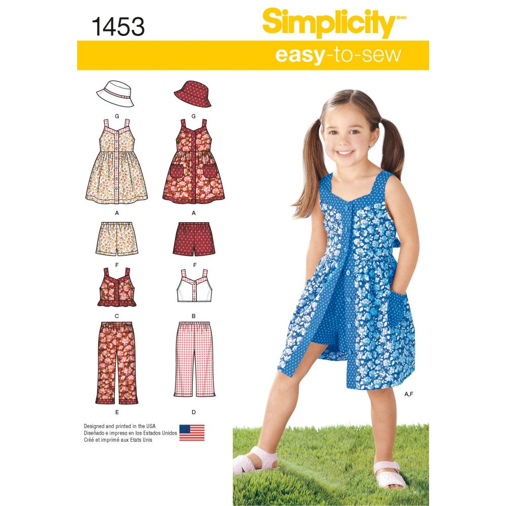 Simplicity Easy to Sew Girls Dress, Top, Trousers or Shorts and Hat Pattern