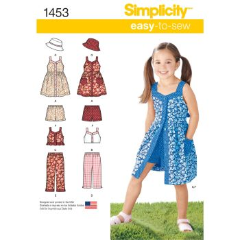 Simplicity Easy to Sew Girls Dress, Top, Trousers or Shorts and Hat Pattern 1453 Size A (3-4,5-6,7-8)