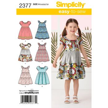 Simplicity Easy to Sew Girls Dress Pattern 2377 Size A (3,4,5,6,7,8)