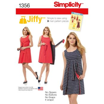Simplicity Jiffy Ladies Reversible Wrap Dress Pattern 1356 Size R5 (14,16,18,20,22)