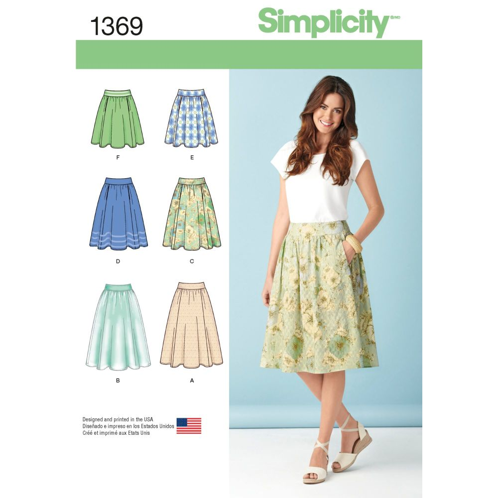 Simplicity Ladies Misses Skirt Three Lengths Pattern 1369 Size R5 (14,16,18