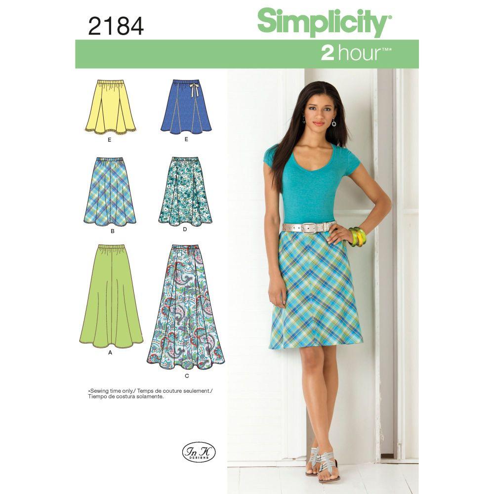 Simplicity Ladies Misses Skirt Pattern 2184 Size R5 (14,16,18,20,22)