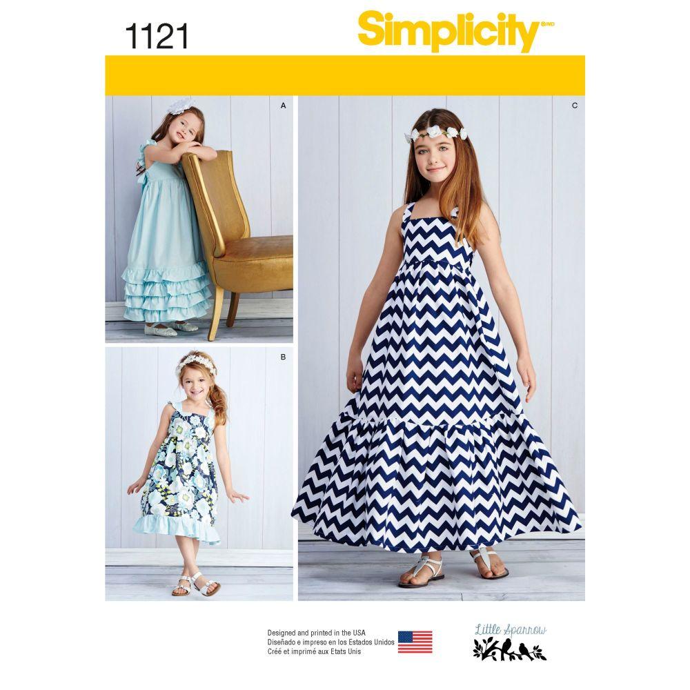 Simplicity Girls Summer Dress Pattern 1121 Size HH (3,4,5,6)