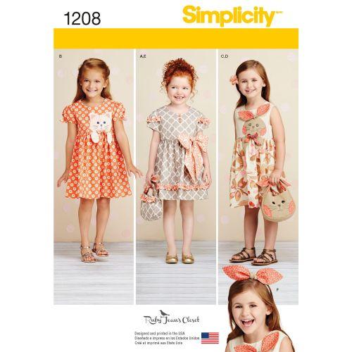 Simplicity Girls Dress, Bag & Headband Pattern 1208 Size A (3,4,5,6,7,8)