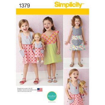 "Simplicity Girls Dress & Matching Dress for 18"" Doll Pattern 1379 Size A (3,4,5,6,7,8)"
