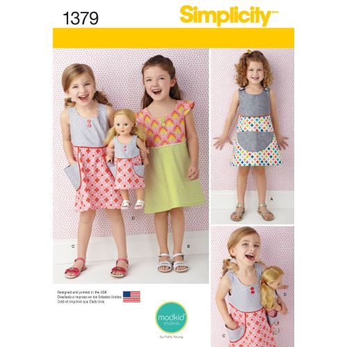 Simplicity Girls Dress & Matching Dress for 18