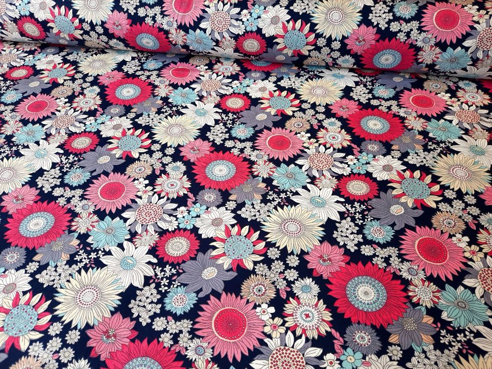 Floral Bloom on Navy by Rose & Hubble 100% Cotton