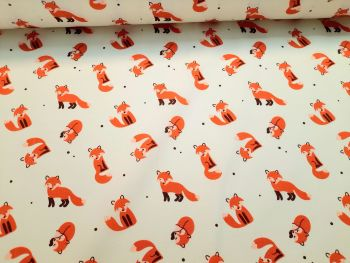 Friendly Foxes on Ivory by Rose & Hubble 100% Cotton