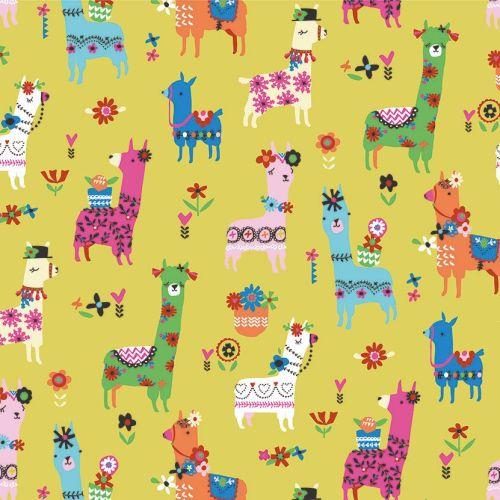 Fiesta Lllamas Yellow by Dashwood Studio 100% Cotton