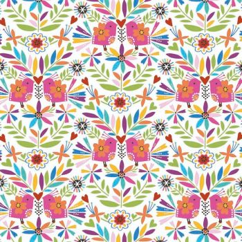 Fiesta Birds Floral White by Dashwood Studio 100% Cotton