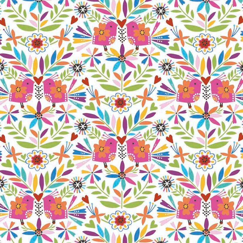 Fiesta Birds Floral White by Dashwood Studio 100% Cotton