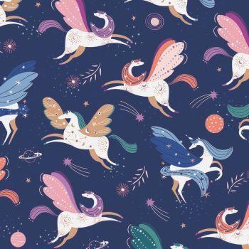 Celeste Unicorns Metallic by Dashwood Studio 100% Cotton