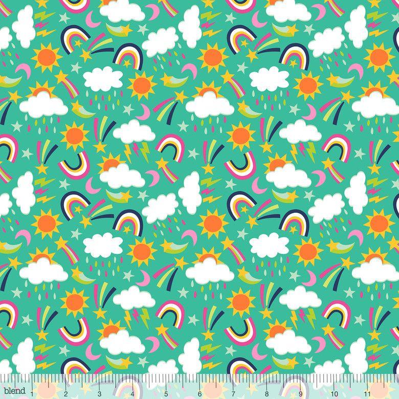 Chasing Rainbows Rainy Days Turquoise by Blend Fabrics 100% Cotton