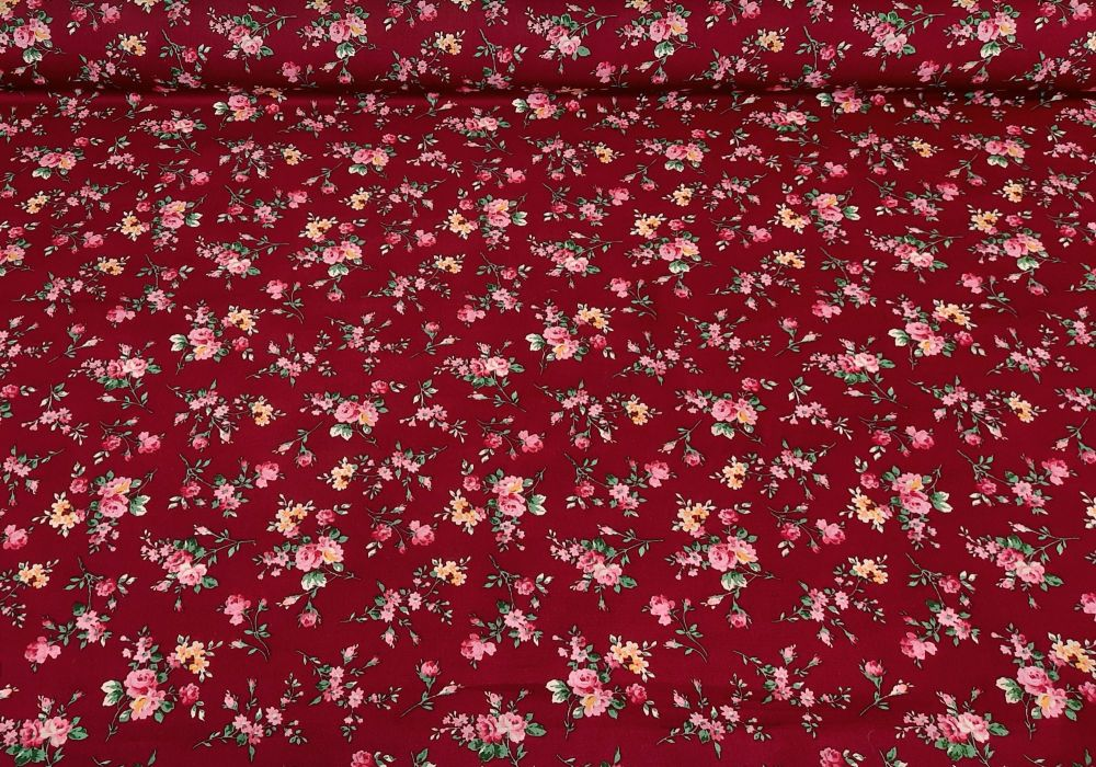 Mia Flowers on Wine 100% Cotton Extra Wide