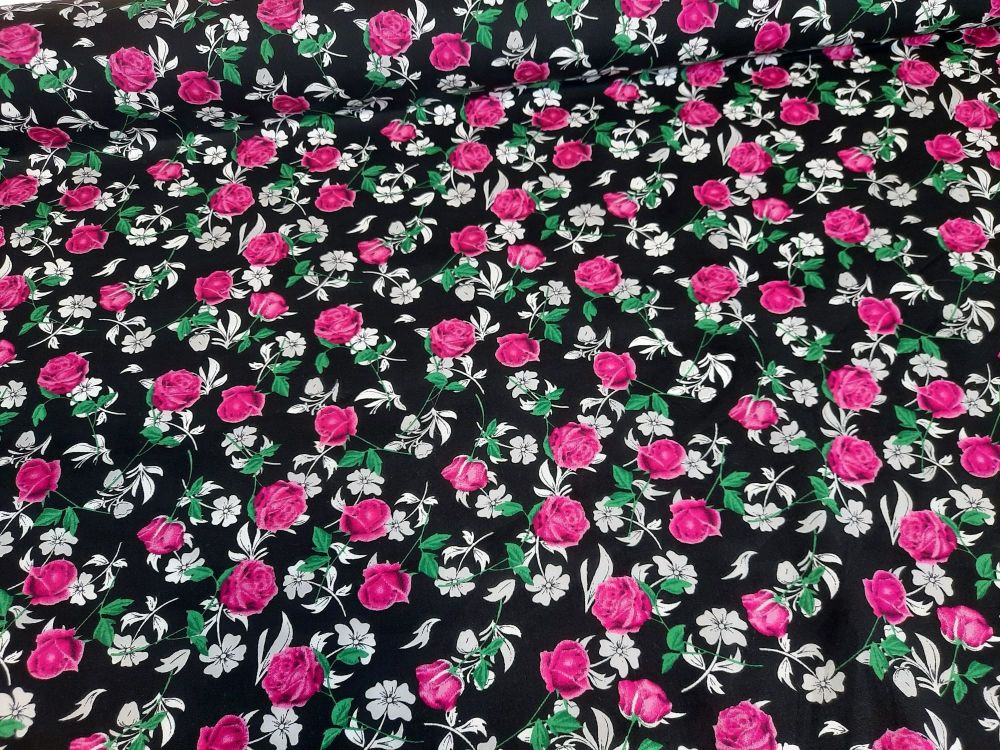 Adele Flowers on Black 100% Cotton Extra Wide