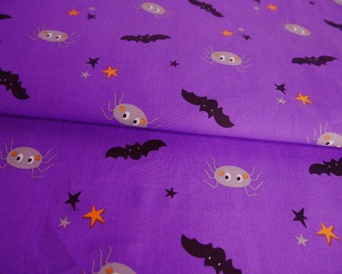 Spiders & Bats on Purple 100% Cotton Extra Wide