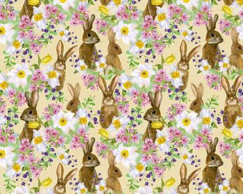 Bunnies & Flowers on Lemon 100% Cotton Extra Wide Little Johnny Collection