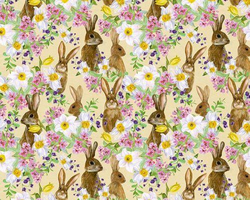 Bunnies & Flowers on Lemon 100% Cotton Extra Wide