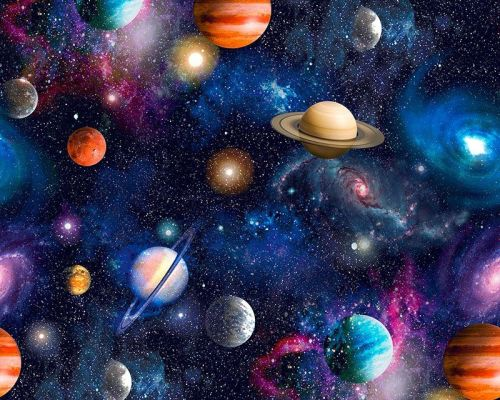 Universe & Planets Extra Wide 100% Cotton Extra Wide