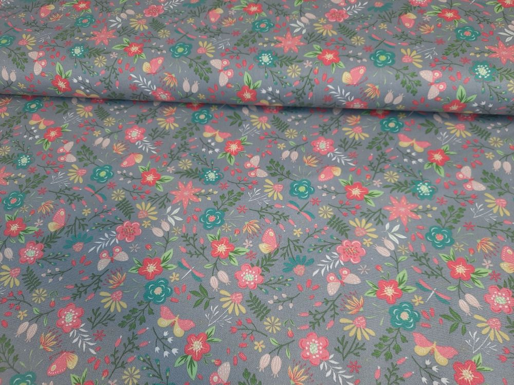 Freya Grey Floral by OjuTie Collection Extra Wide