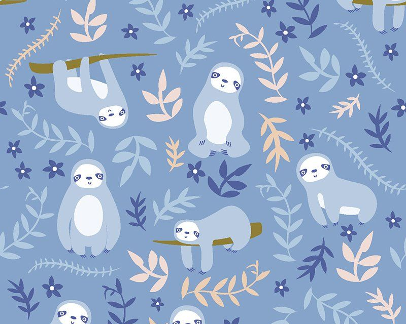 Sloths on Blue 100% Cotton Extra Wide Little Johnny Collection