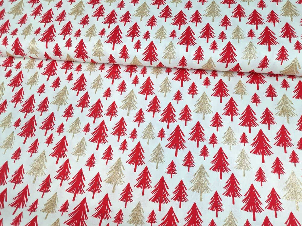 Gold Sparkly & Red Christmas Trees on Ivory by Rose & Hubble Extra Wide 100
