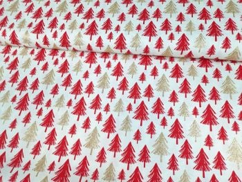 Gold Sparkly & Red Christmas Trees on Ivory by Rose & Hubble Extra Wide 100% Cotton