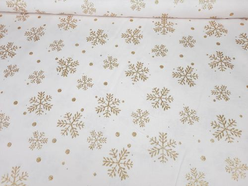 Gold Sparkly Snowflakes on Ivory by Rose & Hubble Extra Wide 100% Cotton